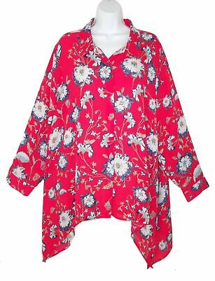 d424fcc09 Lord & Taylor Context 2X Plus Size Asymmetric Tunic Top Floral Red Sharkbite