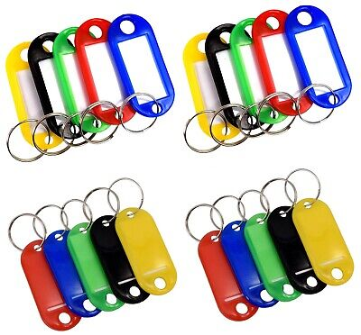 Assorted Key Tags Coloured Plastic Rings for ID Tags Card Fob Label Car Identity