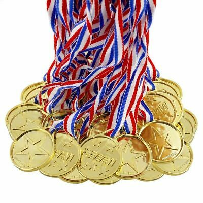 24 x Gold Plastic Childrens Winners Medals Sports Day Winner Party Bag Awards