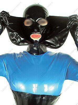 Latex Hood Rubber Gummi Full Face Open Front Zip BDSM Fetish Wear Customize .4mm