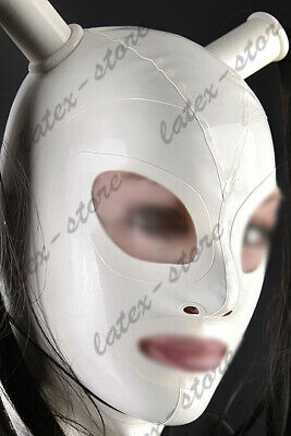 Latex Hood Rubber Gummi White Neck Loop Mask Wome Fetish Wear Customized 0.4mm