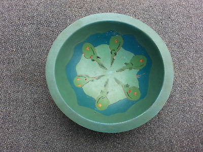 Vintage Arts & Crafts Era Hand Enamel Paint on Wood Bowl ~ Geese / Fowl Design