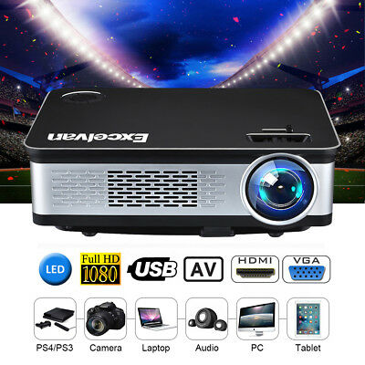 1080P LED Projektor 6000 Lumen FHD Media Heimkino Beamer HDMI Home Projector AV