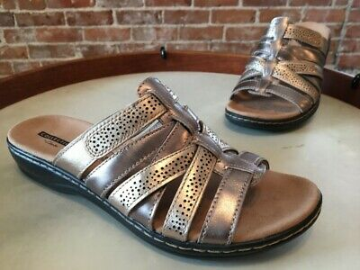 43af81cf15 Clarks Metallic Multi Leather Leisa Field Strappy Slide Sandal 7.5 W New
