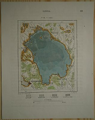1880 Perron map LAKE LADOGA & SAINT PETERSBURG, RUSSIA (#134)