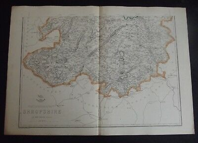 Antique County Map: Shropshire, Edward Weller, Weekly Dispatch c1860, Bi-colour