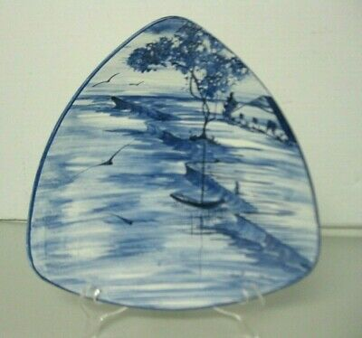 Pompa Blue and White Triangle Lake House & Boat Wall or Centerpiece Plate