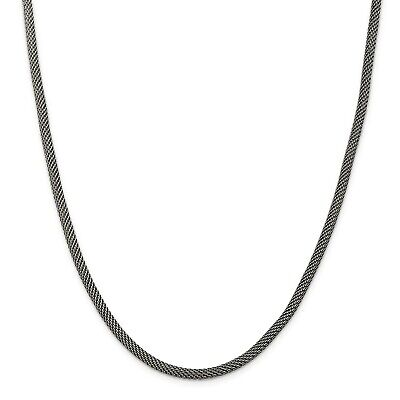 925 Sterling Silver 4mm Fancy Antiqued Mesh Chain 18 Inch