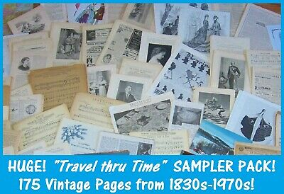 "HUGE LOT!175pc""TRAVEL THRU TIME""Vtg Paper Sampler Pack~Sheet Music,Antique Books"