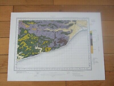 Vintage Geological map Hastings ordnance Survey 1952 wall map East Sussex