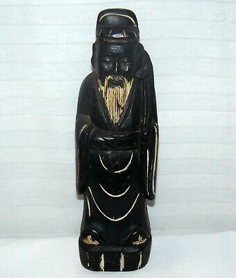 "Vintage Chinese HandCrafted Immortal Emperor Solid Wood 12"" Carved Wooden Statue"