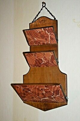 Antique Vintage Solid Wood Letter/Papers Rack Wall Hanging Wooden Edwardian Old
