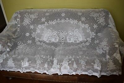 """Vintage White Christmas Snowmen Candy Cane Lace Rectangle Table Cloth 84""""X58"""""""