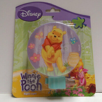 Disney Winnie The Pooh Wall Night Light Purple Butterfly, Bee, Flowers, Honeypot