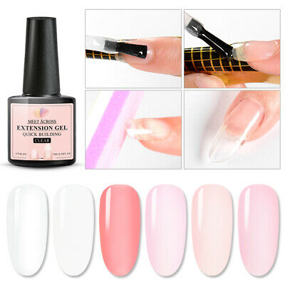 7ml Quick Extension Gel UV Builder Nail Gel Clear Nude Manicure Tips MEET ACROSS