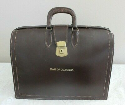 Vintage State Of California Leather Bag Attache Briefcase Lawyer Government