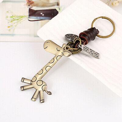 Keychain Men and Women Small Gifts Alloy Giraffe Vintage Woven Leather Key LG