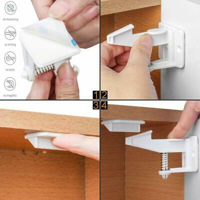 10/12pcs Cabinet Locks Child Safety Self Adhesive Invisible Drawer Lock Latches