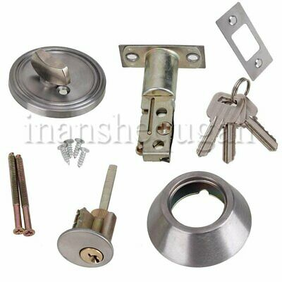 Stainless Steel Dead Bolt Lock Single Cylinder W8xD5cm for Wood Metal Doors