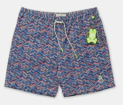 d08dd73342604 PSYCHO BUNNY MEN'S Wave Green Japanese Honeycomb Print Swim Trunks ...