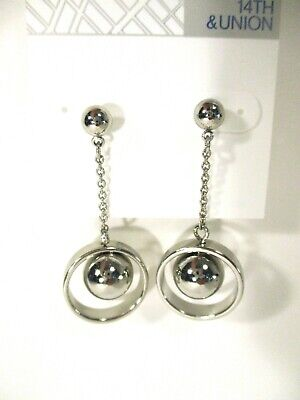 0c4667025 Nordstrom Rack 14th & Union Chain and Ball Drop Earrings NWT $45 Silver