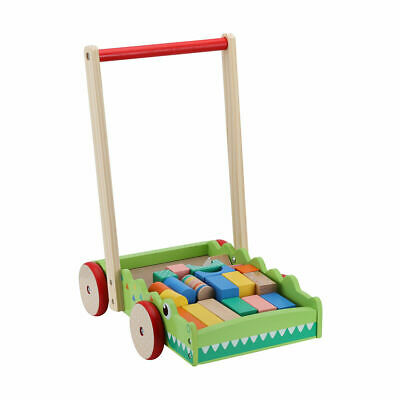 Wooden Walker with Blocks Push Toddler Kids Wood Toy Wagon Cart Baby Activity AU