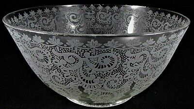 """Lovely Antique Acid Etched Glass Upturned 4/"""" Gas Oil Lamp Shade Victorian Lace"""