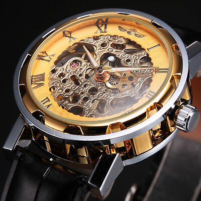 Automatic Mechanical Watch Mens Hand-winding Skeleton Steel Stainless Watch+Box