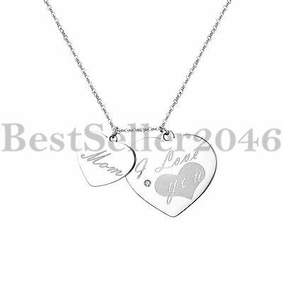 """Women Lady """"I love you mom"""" Heart Charm Pendant Stainless Steel Necklace 18""""-20"""""""