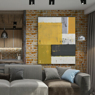 Mustard Yellow Grey Abstract Painting Canvas Wall Arts Prints Pictures Unframed