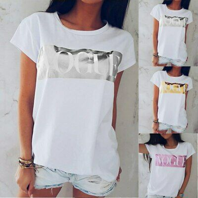Womens Short Sleeve Pullover T shirt VOGUE Summer Tops Tees Lady Blouse UK Size