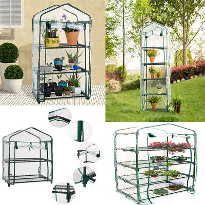 4 Tier Mini Greenhouse Outdoor Growhouse PVC Cover Plastic Garden Growing New