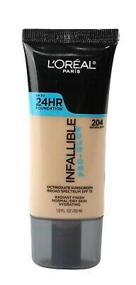 L'OREAL 30mL INFALLIBLE PRO-GLOW FOUNDATION 204 NATURAL BUFF - NEW