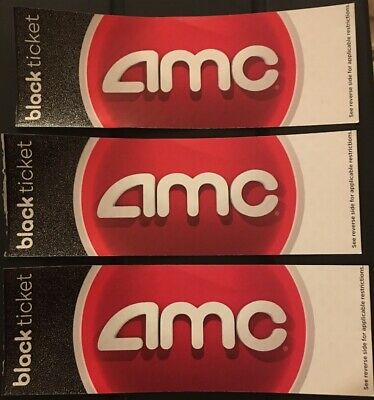 3 X AMC BLACK TICKETS. Any Movie, Any Theater, Any State, Any Time No Expiration