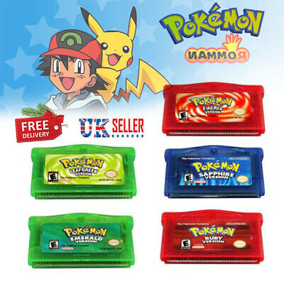 For Pokemon Fire Red Leaf Green Emerald Ruby Sapphire Nintendo Gameboy Advance