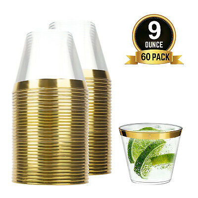 60pcs 9oz Disposable Hard Plastic Dessert Cups Tumblers Cocktail Wine Champagne
