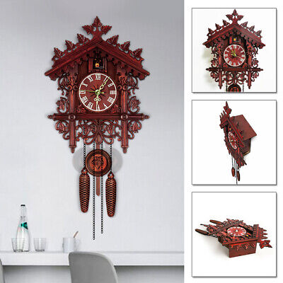 Antique Wooden Cuckoo Clock Bird Time Swing Alarm Watch Wall Home Decoration