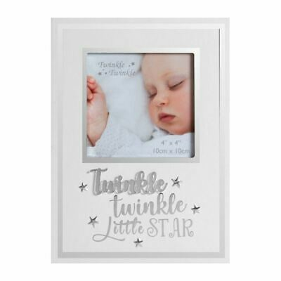 """Twinkle Twinkle Little Star Baby White Photo Frame 4"""" x 4"""""""
