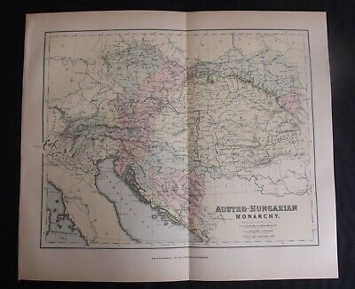 Antique Map: Austro-Hungarian Monarchy, 1901, Colour