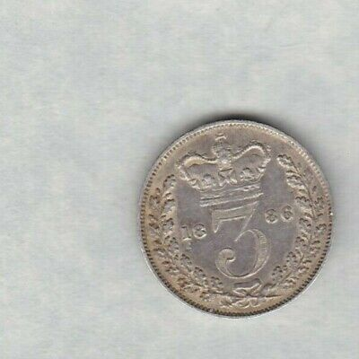 1886 Victoria Young Head Silver Threepence In Good Very Fine Condition