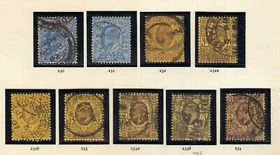1902-1910 EDWARD 7TH specialised 2.5d to 3d SG230-234 COMPLETE INC A,B OR C USED