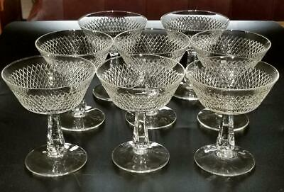8 Fine Arts Crystal Royal Diamond Tall Champagne Sherbet Stems Glasses