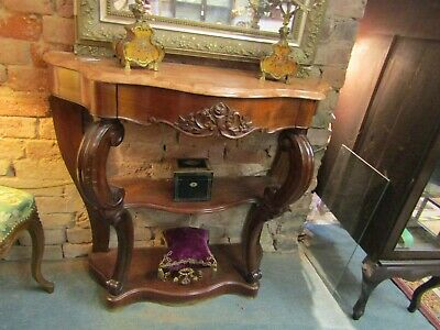 Gorgeous Antique French Carved Mahogany & Peach Mable Topped Console Table