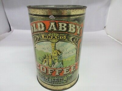 Vintage Advertising Old Abby Brand Coffee Tin Can Graphics  709-P