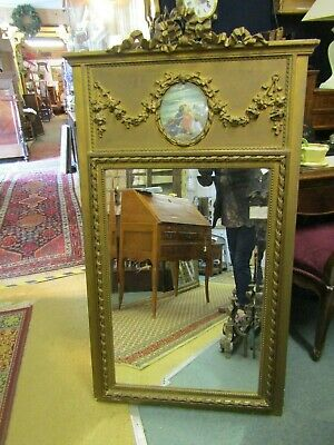 Stunning  Antique French Gilt Gesso On Wood Time Worn Mirror Bow Decoration