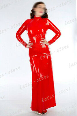 Latex Catsuit Rubber Gummi Red Long One Piece Dresses Sexy Sweet Customized .4mm