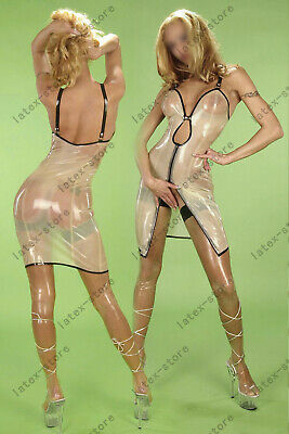 Latex Catsuit Rubber Gummi Transparent Sun-top Dresses Wet Sexy Customized .4mm