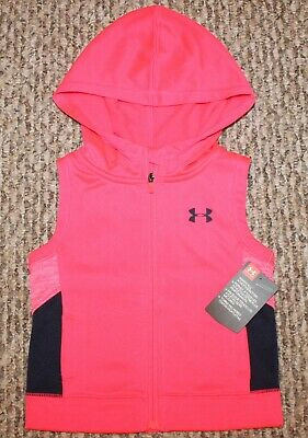 New! Baby Girls Under Armour Fleece Squad Vest (Hood; Pink) - Size 12, 18, 24 mo
