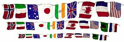"""Large PRODUCTION STRING OF FLAGS Silk Magic Magician Prop 4"""" x 6"""" Size Set World"""