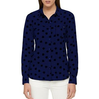 TOMMY HILFIGER NEW Women's Printed Utility Button Down Shirt Top TEDO